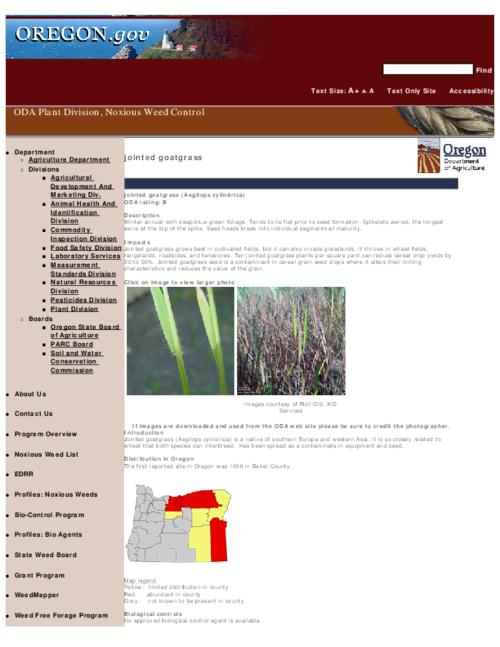 "This archived document is maintained by the Oregon State Library as part of the Oregon Documents Depository Program.  It is for informational purposes and may not be suitable for legal purposes., Title from PDF caption (viewed on Sept. 13, 2010), Part of the series Oregon state noxious weed list, Converted from HTML, ""June 15, 2009."", Mode of access: Internet from the Oregon Government Publications Collection."