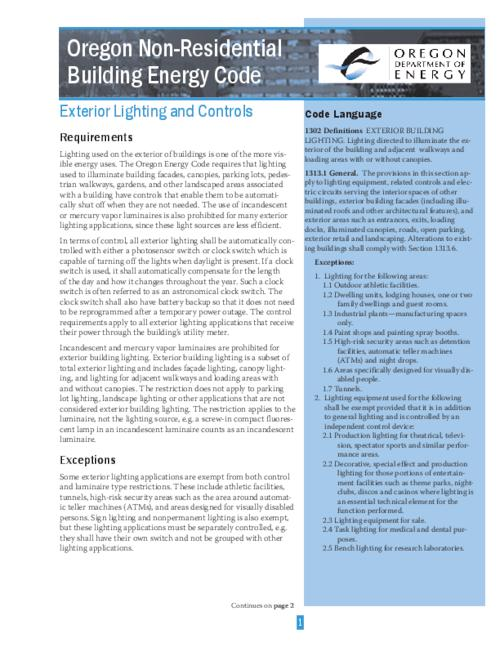"This archived document is maintained by the Oregon State Library as part of the Oregon Documents Depository Program.  It is for informational purposes and may not be suitable for legal purposes., Title from PDF caption (viewed on Mar. 29, 2007), At head of first page: Oregon Non-Residential Building Energy Code, ""ODOE CF-125 12/05""--P. 2, ""This fact sheet was developed with funding from the Northwest Energy Efficiency Alliance and the US Department of Energy under contract DE-FG51-02R021378""--P. 2, Mode of access: Internet from the Oregon Government Publications Collection."