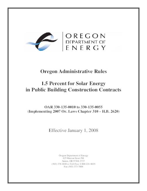 "This archived document is maintained by the Oregon State Library as part of the Oregon Documents Depository Program.  It is for informational purposes and may not be suitable for legal purposes., Title from PDF title page (viewed on Dec. 3, 2008), ""OAR 330-135-0010 to 330-135-0055 (implementing 2007 Or. laws chapter 310-H.B. 2620)."", ""Effective January 1, 2008."", Mode of access: Internet from the Oregon Government Publications Collection."