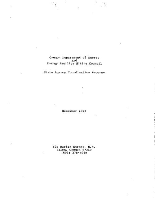 "This archived document is maintained by the Oregon State Library as part of the Oregon Documents Depository Program.  It is for informational purposes and may not be suitable for legal purposes., ""December 1990."", Title from PDF caption (viewed on Jan. 10, 2011), Mode of access: Internet from the Oregon Government Publications Collection."