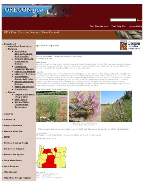 "This archived document is maintained by the Oregon State Library as part of the Oregon Documents Depository Program.  It is for informational purposes and may not be suitable for legal purposes., Title from PDF caption (viewed on Sept. 13, 2010), Part of the series Oregon state noxious weed list, Converted from HTML, ""February 29, 2008."", Mode of access: Internet from the Oregon Government Publications Collection."