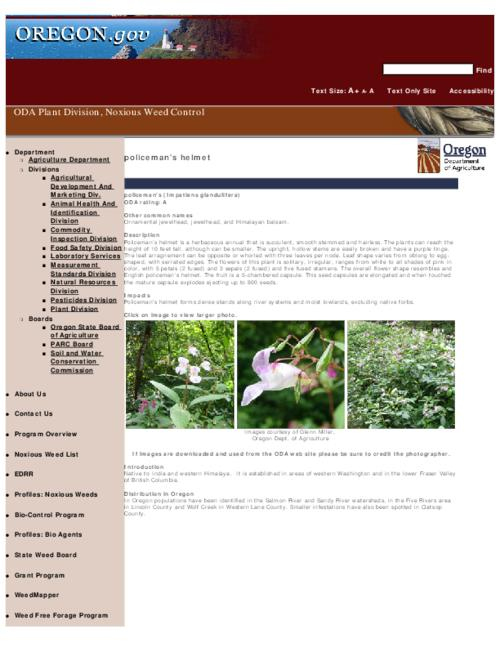 "This archived document is maintained by the Oregon State Library as part of the Oregon Documents Depository Program.  It is for informational purposes and may not be suitable for legal purposes., Title from PDF caption (viewed on Sept. 13, 2010), Part of the series Oregon state noxious weed list, Converted from HTML, ""February 13, 2008."", Mode of access: Internet from the Oregon Government Publications Collection."