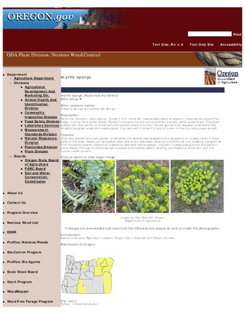 "This archived document is maintained by the Oregon State Library as part of the Oregon Documents Depository Program.  It is for informational purposes and may not be suitable for legal purposes., Title from PDF caption (viewed on Sept. 13, 2010), Part of the series Oregon state noxious weed list, Converted from HTML, ""February 12, 2008."", Mode of access: Internet from the Oregon Government Publications Collection."