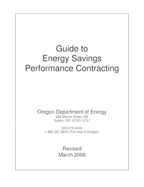 "This archived document is maintained by the Oregon State Library as part of the Oregon Documents Depository Program.  It is for informational purposes and may not be suitable for legal purposes., Title from PDF cover (viewed on March 18, 2016)., ""The Oregon Department of Energy (ODOE) has prepared this guide to help state agencies, school districts, and local governments improve their buildings using energy savings performance contracting. Energy savings performance contracting provides agencies with a way to implement energy-efficiency improvements even if they don't have the technical knowledge, project management experience, or budget for improvements.""--Page 2., Includes bibliographical references., Mode of access: Internet from the Oregon Government Publications Collection., Text in English."