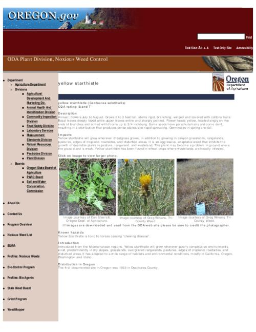 "This archived document is maintained by the Oregon State Library as part of the Oregon Documents Depository Program.  It is for informational purposes and may not be suitable for legal purposes., Title from PDF caption (viewed on Sept. 13, 2010), Part of the series Oregon state noxious weed list, Converted from HTML, ""May 14, 2007."", Mode of access: Internet from the Oregon Government Publications Collection."