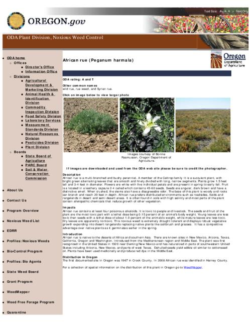 "This archived document is maintained by the Oregon State Library as part of the Oregon Documents Depository Program.  It is for informational purposes and may not be suitable for legal purposes., Title from PDF caption (viewed on June 10, 2011), Part of the series Oregon state noxious weed list, Converted from HTML, ""May 17, 2011."", Mode of access: Internet from the Oregon Government Publications Collection."