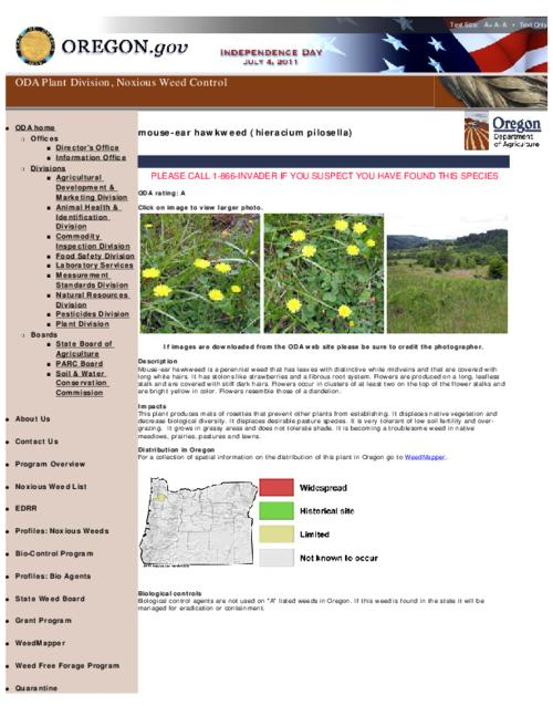 "This archived document is maintained by the Oregon State Library as part of the Oregon Documents Depository Program.  It is for informational purposes and may not be suitable for legal purposes., Title from PDF caption (viewed on Aug. 4, 2011), Part of the series Oregon state noxious weed list, Converted from HTML, ""June 08, 2011."", Mode of access: Internet from the Oregon Government Publications Collection."