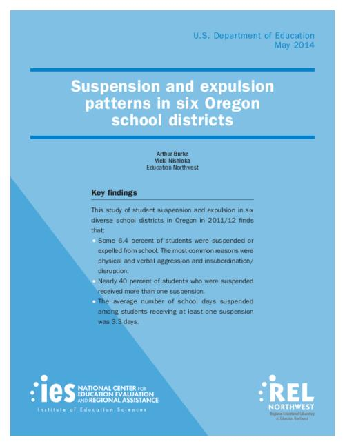 "Study of student suspension and expulsion in six diverse school districts in Oregon in 2011/2012. Some 6.4 percent of students were suspended or expelled from schools. The most common reasons were physical and verbal agression and insubordination/disruption, This archived document is maintained by the Oregon State Library as part of the Oregon Documents Depository Program.  It is for informational purposes and may not be suitable for legal purposes., Title from PDF cover (viewed on May 12, 2014), ""REL 2014-028."", Includes bibliographical references, ED-IES-12-C-003, Mode of access: Internet from the Oregon Government Publications Collection., Text in English"