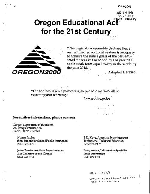"This archived document is maintained by the Oregon State Library as part of the Oregon Documents Depository Program.  It is for informational purposes and may not be suitable for legal purposes., ""August 9, 1991""--P. 6, Title from cover, Mode of access: Internet from the Oregon Government Publications Collection."