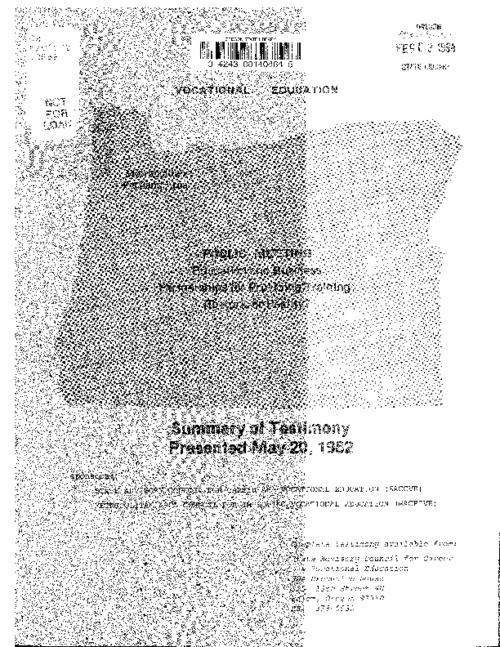 "This archived document is maintained by the Oregon State Library as part of the Oregon Documents Depository Program.  It is for informational purposes and may not be suitable for legal purposes., ""Sponsors: State Advisory Council for Career and Vocational Education (SACCVE), Metropolitan Area Council for Improving Vocational Education (MACFIVE)."", At head of title: Public meeting, Mode of access: Internet from the Oregon Government Publications Collection."