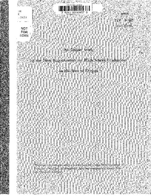 "This archived document is maintained by the Oregon State Library as part of the Oregon Documents Depository Program.  It is for informational purposes and may not be suitable for legal purposes., ""This study was conducted under a contract with the Oregon State Department of Education by the Center for Educational Policy and Management, College of Education, University of Oregon."", Title from cover, Mode of access: Internet from the Oregon Government Publications Collection."