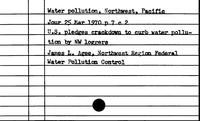 Water Pollution. Northwest, Pacific - Water Rates