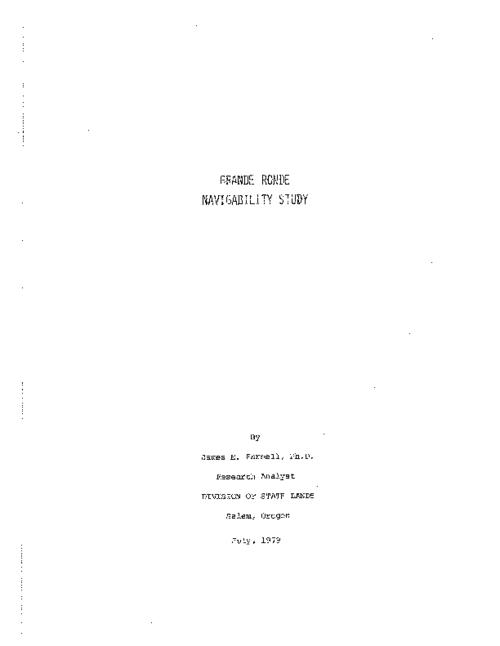 "This archived document is maintained by the Oregon State Library as part of the Oregon Documents Depository Program.  It is for informational purposes and may not be suitable for legal purposes., Title from PDF title page (viewed on Oct. 4, 2010), ""July 1979."", Includes bibliographical references, Mode of access: Internet from the Oregon Government Publications Collection."