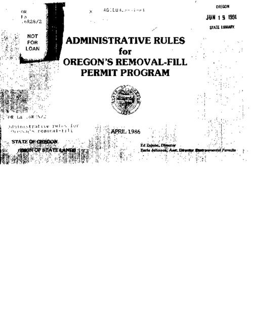 "This archived document is maintained by the Oregon State Library as part of the Oregon Documents Depository Program.  It is for informational purposes and may not be suitable for legal purposes., ""April 1986."", Title from cover, Mode of access: Internet from the Oregon Government Publications Collection."