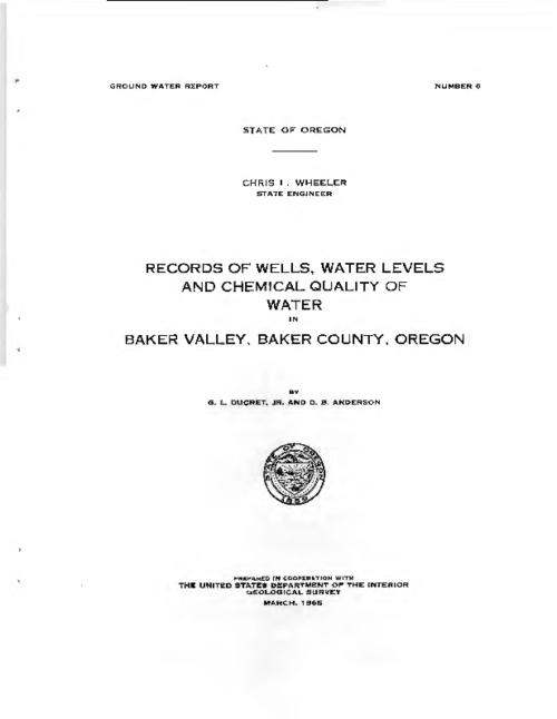 "This archived document is maintained by the Oregon State Library as part of the Oregon Documents Depository Program.  It is for informational purposes and may not be suitable for legal purposes., ""March 1965."", Prepared in cooperation with the U.S. Dept. of the Interior, Geological Survey, One map folded in pocket, Mode of access: Internet from the Oregon Government Publications Collection."
