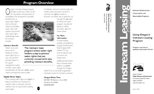 "This archived document is maintained by the Oregon State Library as part of the Oregon Documents Depository Program.  It is for informational purposes and may not be suitable for legal purposes., Title from PDF caption (viewed on June 29, 2009), ""Instream enhancement, conservation, and stewardship programs."", ""April 1998."", Mode of access: Internet from the Oregon Government Publications Collection."