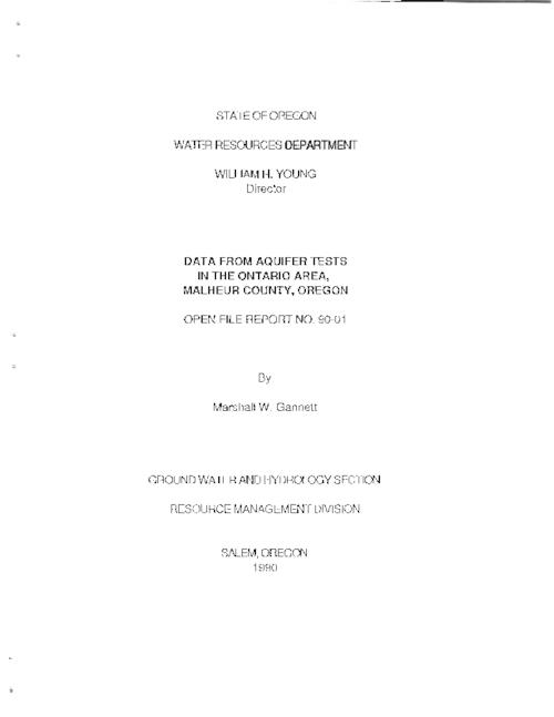 "This archived document is maintained by the Oregon State Library as part of the Oregon Documents Depository Program.  It is for informational purposes and may not be suitable for legal purposes., Title from PDF cover (viewed on September 30, 2015)., ""Five aquifer tests were conducted in the area of Ontario, Oregon...to provide information on the hydraulic characteristics of the aquifer and the aquifer boundaries....The purpose of this report is to present the actual data from the tests so that interested individuals may analyze the data and evaluate the tests themselves""--Page 1., Includes bibliographical references (page 58)., Mode of access: Internet from the Oregon Government Publications Collection., Text in English."