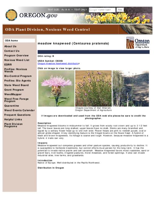 "This archived document is maintained by the Oregon State Library as part of the Oregon Documents Depository Program.  It is for informational purposes and may not be suitable for legal purposes., Title from PDF caption (viewed Apr. 13, 2012), Part of the series Oregon state noxious weed list, Converted from HTML, ""April 06, 2012""--P. [2], Mode of access: Internet from the Oregon Government Publications Collection."