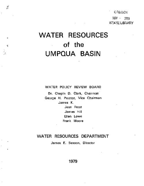 "This archived document is maintained by the Oregon State Library as part of the Oregon Documents Depository Program.  It is for informational purposes and may not be suitable for legal purposes., Title from cover., ""The water resource data within this report was prepared as part of the Umpqua Basin policy update in 1974."", ""This Water Management Guideline has been prepared to provide guidance and coordination to the planning activities and development of the water resources in the Umpqua Basin. The objective of the guideline is to outline the best over-all management and use of the water resources of the basin""--Page 1., Appendices include the resolution: ""In the matter of formulating an integrated, coordinated program for the use and control of the water resources of the Umqua River Basin"" passed by the Water Resources Board on March 26, 1974., Mode of access: Internet from the Oregon Government Publications Collection., Text in English."