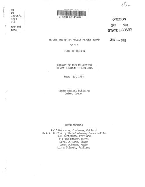 This archived document is maintained by the Oregon State Library as part of the Oregon Documents Depository Program.  It is for informational purposes and may not be suitable for legal purposes., Title from cover., Includes meeting summary and documents and written comments., Mode of access: Internet from the Oregon Government Publications Collection., Text in English.