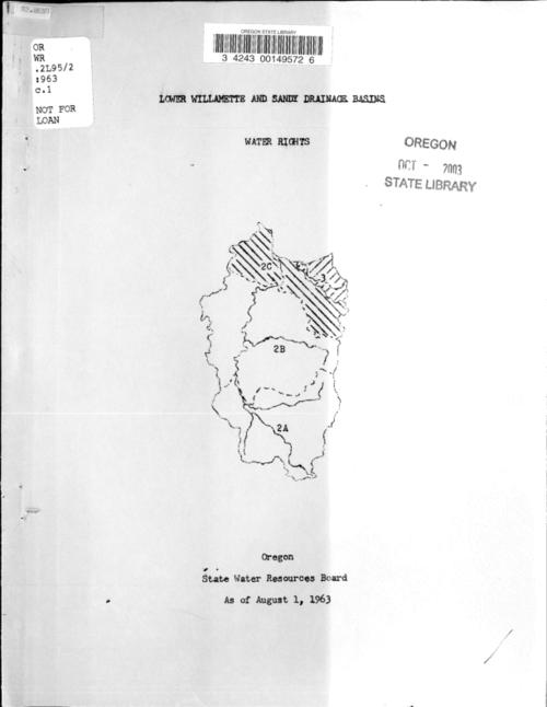 "This archived document is maintained by the Oregon State Library as part of the Oregon Documents Depository Program.  It is for informational purposes and may not be suitable for legal purposes., Title from cover., ""As of August 1, 1963."", For each river, creek, etc. the index number, certificate number, priority date, rate and location by township range and section are provided., Mode of access: Internet from the Oregon Government Publications Collection., Text in English."