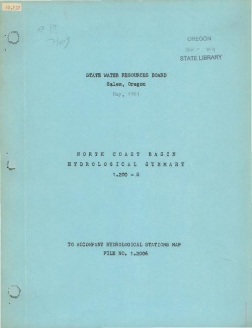 This archived document is maintained by the Oregon State Library as part of the Oregon Documents Depository Program.  It is for informational purposes and may not be suitable for legal purposes., Title from cover., Includes basins in Tillamook, Clatsop and portions of Columbia, Washington, Yamhill and Polk counties., Includes bibiographic references (pages 21-22)., Mode of access: Internet from the Oregon Government Publications Collection., Text in English.