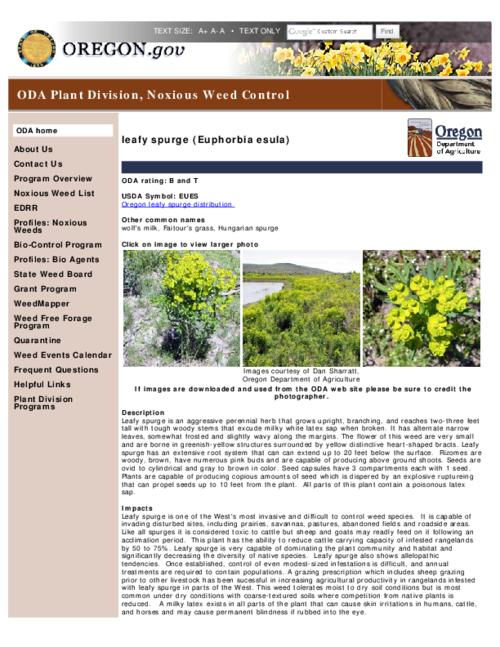 "This archived document is maintained by the Oregon State Library as part of the Oregon Documents Depository Program.  It is for informational purposes and may not be suitable for legal purposes., Title from PDF caption (viewed on Apr. 16, 2012), Part of the series Oregon state noxious weed list, Converted from HTML, ""April 12, 2012""--P. [2], Mode of access: Internet from the Oregon Government Publications Collection."