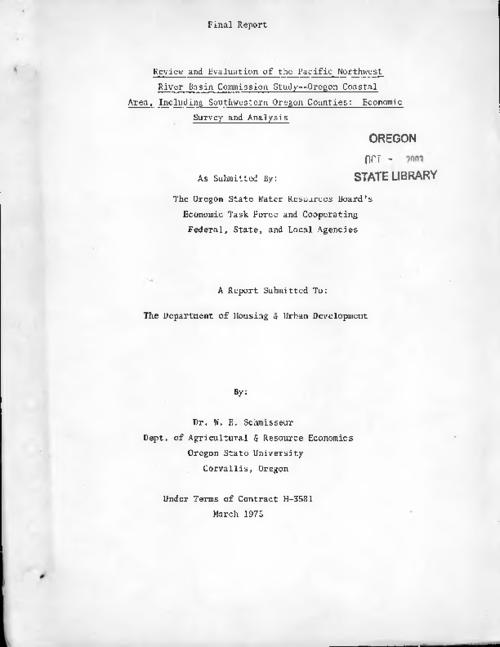 This archived document is maintained by the Oregon State Library as part of the Oregon Documents Depository Program.  It is for informational purposes and may not be suitable for legal purposes., Title from cover., Includes bibliographical references (pages 103-110)., Under terms of contract H-3581, Mode of access: Internet from the Oregon Government Publications Collection., Text in English.