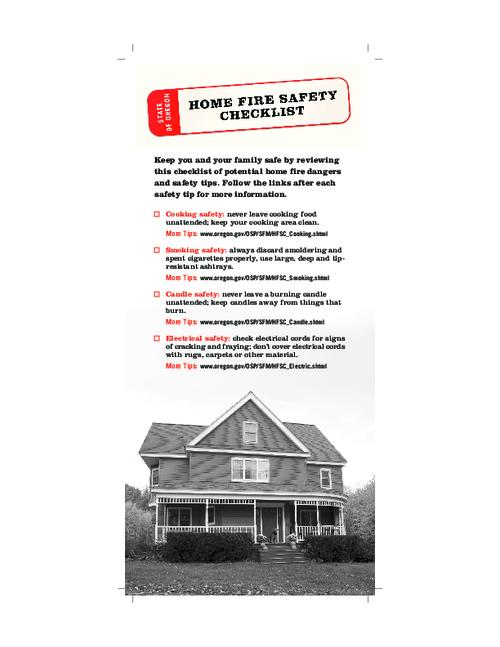 "This archived document is maintained by the Oregon State Library as part of the Oregon Documents Depository Program.  It is for informational purposes and may not be suitable for legal purposes., Title from PDF caption (viewed on Aug. 5, 2010), ""Home fire safety is up to you!"", Logo: Oregon State Fire Marshal, Mode of access: Internet from the Oregon Government Publications Collection."