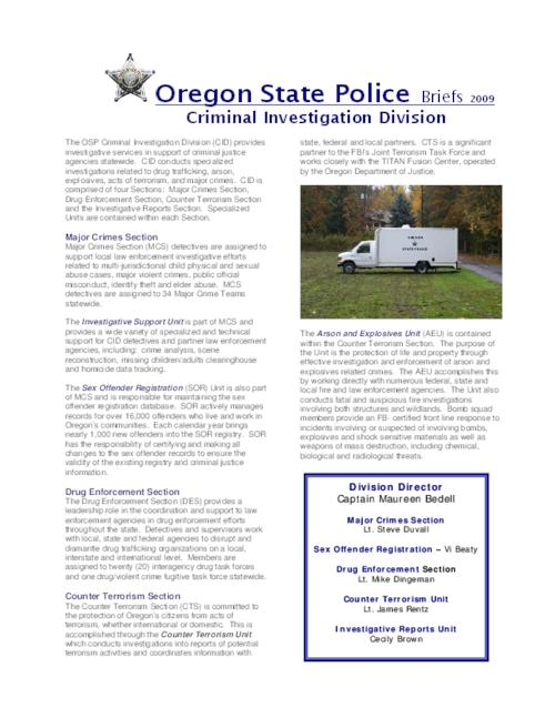 This archived document is maintained by the Oregon State Library as part of the Oregon Documents Depository Program.  It is for informational purposes and may not be suitable for legal purposes., Title from PDF caption (viewed on Nov. 5, 2009), Mode of access: Internet from the Oregon Government Publications Collection.