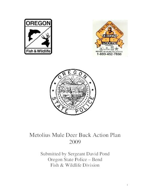 "This archived document is maintained by the Oregon State Library as part of the Oregon Documents Depository Program.  It is for informational purposes and may not be suitable for legal purposes., Title from PDF title page (viewed on Mar. 8, 2010), Logo: Oregon Fish & Wildlife, ""A cooperative effort action plan between the Oregon State Police and the Oregon Department of Fish & Wildlife""--P. 2, Mode of access: Internet from the Oregon Government Publications Collection."