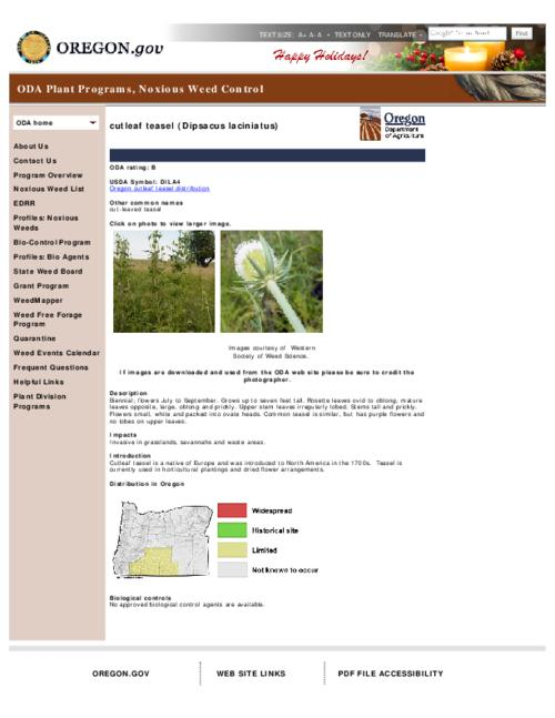 This archived document is maintained by the Oregon State Library as part of the Oregon Documents Depository Program.  It is for informational purposes and may not be suitable for legal purposes., Title from PDF caption (viewed on Dec. 27, 2012), Part of the series Oregon state noxious weed list, Converted from HTML, Mode of access: Internet from the Oregon Government Publications Collection.