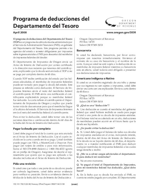 This archived document is maintained by the Oregon State Library as part of the Oregon Documents Depository Program.  It is for informational purposes and may not be suitable for legal purposes., Title from PDF caption (viewed on Jan. 10, 2011), Mode of access: Internet from the Oregon Government Publications Collection., Text in Spanish
