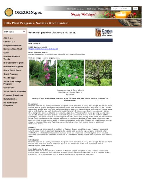 This archived document is maintained by the Oregon State Library as part of the Oregon Documents Depository Program.  It is for informational purposes and may not be suitable for legal purposes., Title from PDF caption (viewed on Dec. 28, 2012), Part of the series Oregon state noxious weed list, Converted from HTML, Mode of access: Internet from the Oregon Government Publications Collection.