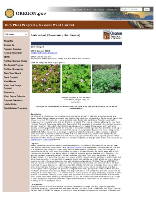 This archived document is maintained by the Oregon State Library as part of the Oregon Documents Depository Program.  It is for informational purposes and may not be suitable for legal purposes., Title from PDF caption (viewed on Jan. 8, 2013), Part of the series Oregon state noxious weed list, Converted from HTML, Mode of access: Internet from the Oregon Government Publications Collection.