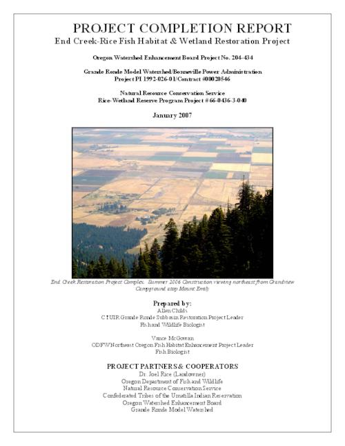 "This archived document is maintained by the Oregon State Library as part of the Oregon Documents Depository Program.  It is for informational purposes and may not be suitable for legal purposes., Title from PDF caption (viewed on May 15, 2007), ""Oregon Watershed Enhancement Board project no. 204-434."", ""Grande Ronde Model Watershed/Bonneville Power Administration project PI 1992-026-01/contract #00020546."", ""Natural Resource Conservation Service rice-wetland reserve program project # 66-0436-3-040."", ""January 2007."", ""Final project report""--P. 1-35, Includes bibliographical references (p. 35), Mode of access: Internet from the Oregon Government Publications Collection."