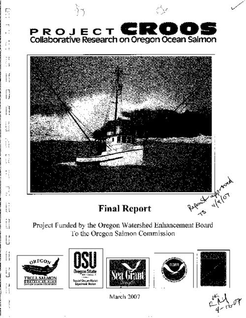 "This archived document is maintained by the Oregon State Library as part of the Oregon Documents Depository Program.  It is for informational purposes and may not be suitable for legal purposes., Title from PDF cover page (viewed on Jan. 12, 2011), ""Project funded by the Oregon Watershed Enhancement Board to the Oregon Salmon Commission."", ""March 2007."", Logos on cover: Oregon Salmon Commission; Oregon State University, Coastal Oregon Marine Experiment Station; Sea Grant Oregon; U.S. Dept. of Commerce, National Oceanic and Atmospheric Administration; Oregon Dept. of Fish and Wildlife, Includes bibliographical references (p. 21-23), Sponsored by the Oregon Watershed Enhancement Board, Mode of access: Internet from the Oregon Government Publications Collection., Final report"