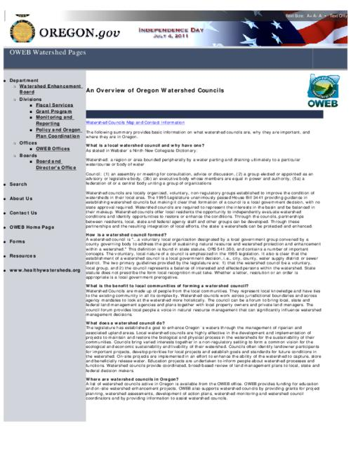 This archived document is maintained by the Oregon State Library as part of the Oregon Documents Depository Program.  It is for informational purposes and may not be suitable for legal purposes., Converted from HTML, Mode of access: Internet from the Oregon Government Publications Collection.