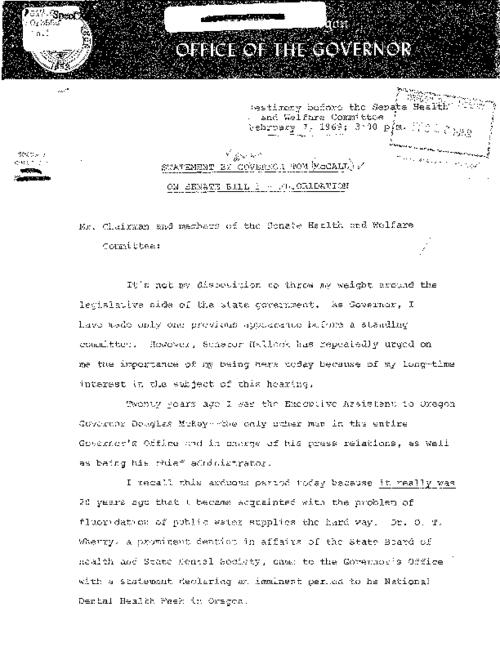 "This archived document is maintained by the Oregon State Library as part of the Oregon Documents Depository Program.  It is for informational purposes and may not be suitable for legal purposes., Title from caption, ""February 7, 1969; 3:00 p.m."", Mode of access: Internet from the Oregon Government Publications Collection., Text in English"