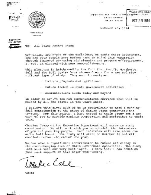[Letter to state agency heads by Governor McCall, October 23, 1974] -- [Letter to general manager of Pacific Northwest Bell by Governor McCall, October 21, 1974] -- [Letter to Governor McCall by the general manager of Pacific Northwest Bell, September 26, 1974], This archived document is maintained by the Oregon State Library as part of the Oregon Documents Depository Program.  It is for informational purposes and may not be suitable for legal purposes., Title supplied by cataloger, Photocopy of typescript, Mode of access: Internet from the Oregon Government Publications Collection., Text in English