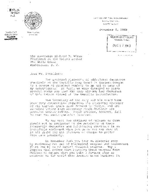 [Letter to President Nixon by Governor McCall, December 5, 1969] -- [Letter to Governor McCall by Robert Finch (U.S. Secretary of Health, Education, and Welfare), December 3, 1969], This archived document is maintained by the Oregon State Library as part of the Oregon Documents Depository Program.  It is for informational purposes and may not be suitable for legal purposes., Title supplied by cataloger, Mode of access: Internet from the Oregon Government Publications Collection., Text in English