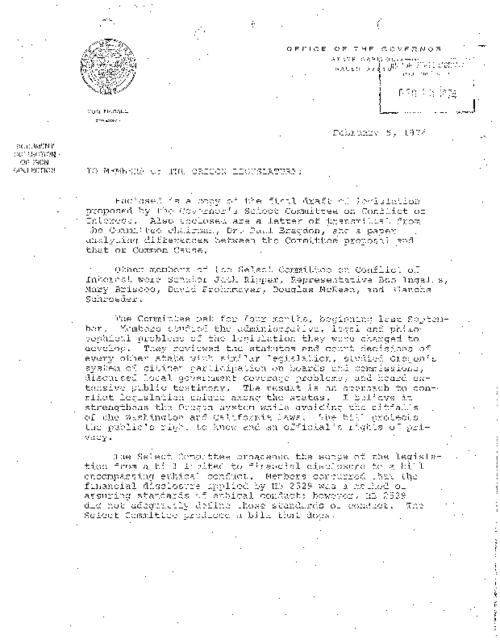 [Letter from Governor McCall to the members of the Oregon Legislature] (Feburary 5, 1974) -- [Letter to Governor McCall from Paul E. Bragdon, Chairman of the Governor's Select Committee on Conflict of Interest] (January 28, 1974) -- [Proposed legislation on conflict of interest] -- Difference between Select Committee draft, Common Cause initiative and vetoed HB 2529, This archived document is maintained by the Oregon State Library as part of the Oregon Documents Depository Program.  It is for informational purposes and may not be suitable for legal purposes., Title supplied by cataloger, Typescript (photocopy), Mode of access: Internet from the Oregon Government Publications Collection., Text in English