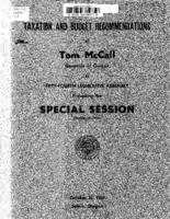 Taxation and budget recommendations of Tom McCall, Governor of Oregon to Fifty-fourth...