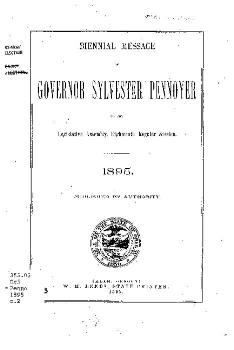 This archived document is maintained by the Oregon State Library as part of the Oregon Documents Depository Program.  It is for informational purposes and may not be suitable for legal purposes., Title from source, Mode of access: Internet from the Oregon Government Publications Collection., Text in English