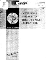 Governor's message to the fify-sixth Legislature