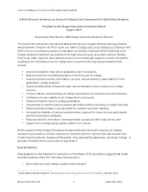 brief research summary on access to college level coursework for  brief research summary on access to college level coursework for high school students