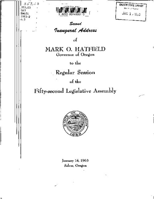 This archived document is maintained by the Oregon State Library as part of the Oregon Documents Depository Program.  It is for informational purposes and may not be suitable for legal purposes., Cover title, Contains : Biennial report of the Executive Department, 1961-1963, Mode of access: Internet from the Oregon Government Publications Collection.