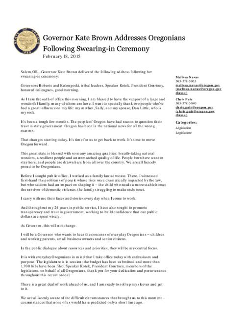 This archived document is maintained by the Oregon State Library as part of the Oregon Documents Depository Program.  It is for informational purposes and may not be suitable for legal purposes., Title from PDF caption (viewed on February 23, 2015)., Converted from HTML., Mode of access: Internet from the Oregon Government Publications Collection., Text in English.