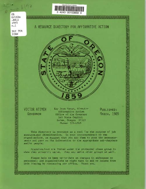 "This archived document is maintained by the Oregon State Library as part of the Oregon Documents Depository Program.  It is for informational purposes and may not be suitable for legal purposes., Title from cover., ""Published: March, 1985."", Mode of access: Internet from the Oregon Government Publications Collection., Text in English."