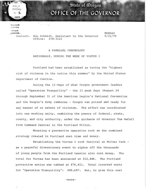"This archived document is maintained by the Oregon State Library as part of the Oregon Documents Depository Program.  It is for informational purposes and may not be suitable for legal purposes., Caption title, ""9/21/70."", Mode of access: Internet from the Oregon Government Publications Collection."